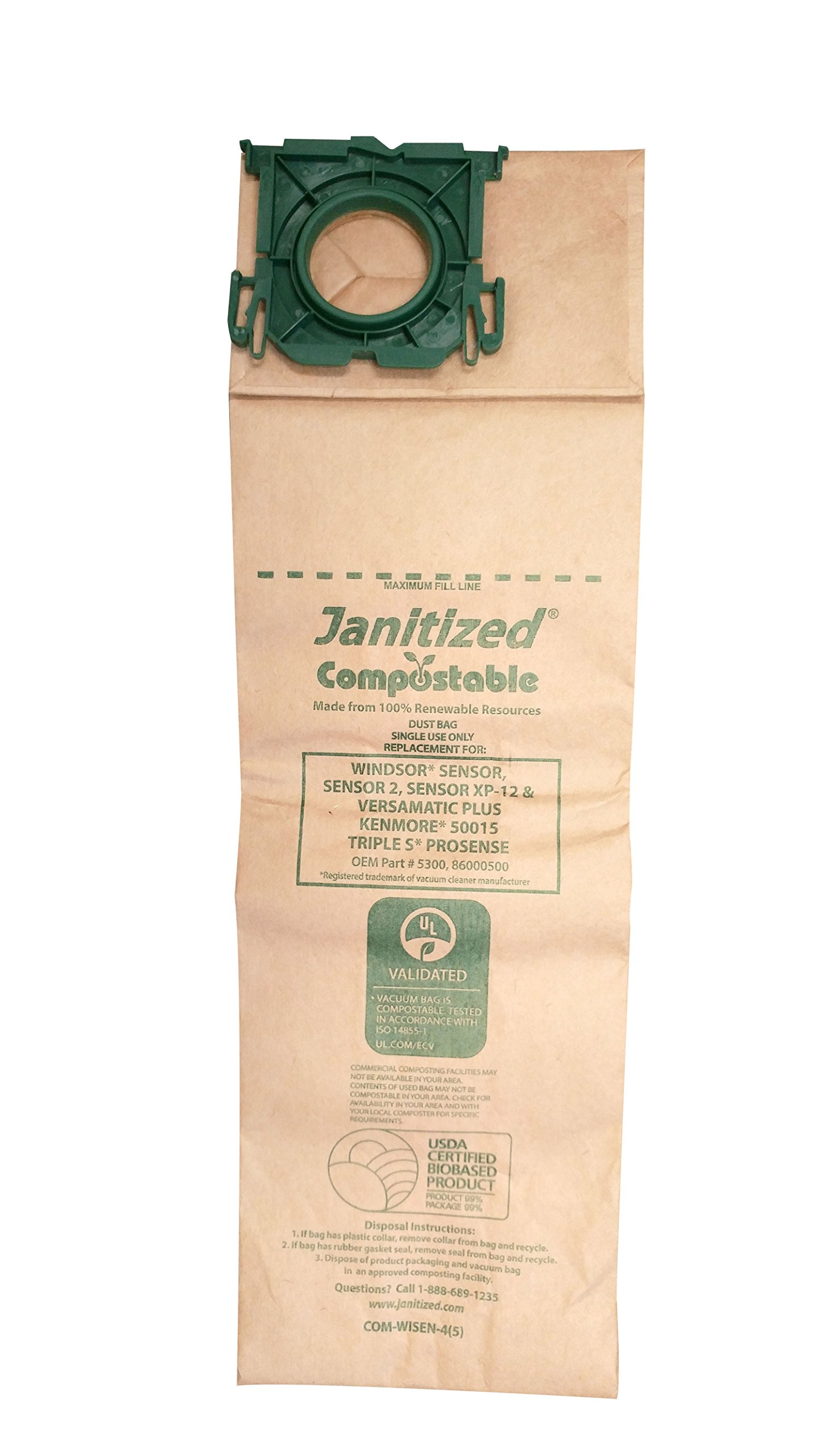 Janitized COM-WISEN-4(5) Compostable Paper Premium Replacement Commercial Vacuum Bag for Windsor Sensor/XP, Versamatic Plus, Triple S Prosense & Kenmore 50015 vacuums (Pack of 50)