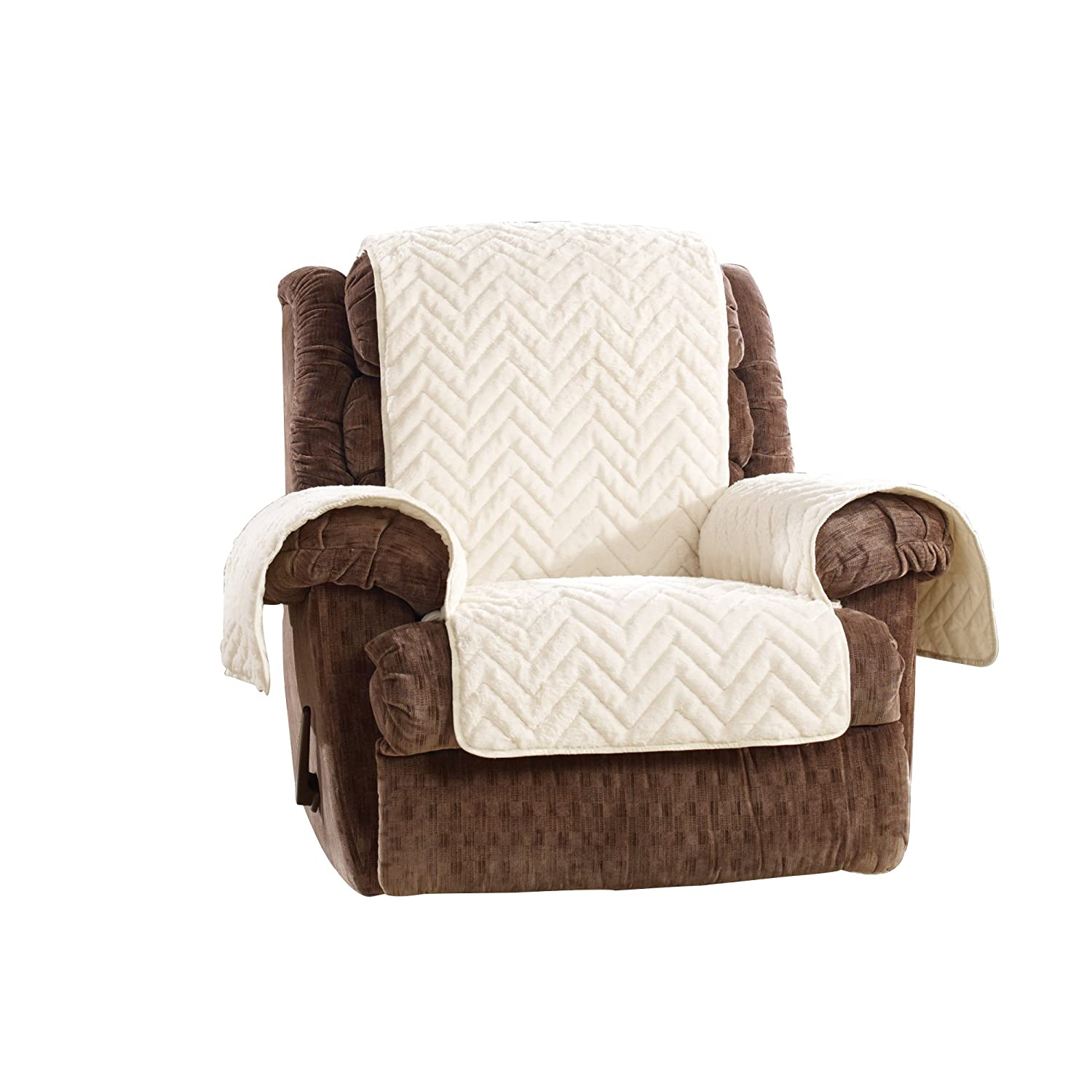 SureFit Quilted Faux Fur Navy Recliner Furniture Cover Sure Fit SF44889