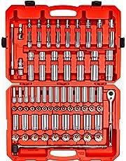 TEKTON 1/2-Inch Drive 6-Point Socket & Ratchet Set, Inch/Metric, 3/8-Inch - 1-5/16-Inch, 10 mm - 32 mm, 84-Piece (Case) | SKT25302