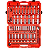 TEKTON 1/2 Inch Drive 6-Point Socket & Ratchet Set, 84-Piece (3/8-1-5/16 in, 10-32 mm) | SKT25302