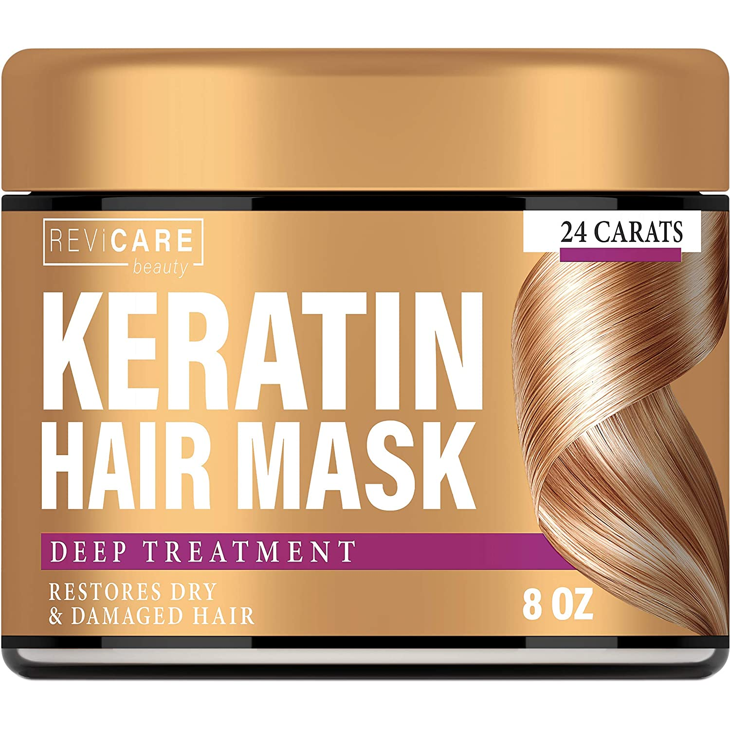 Keratin Hair Mask - Restores Dry & Damaged Hair - Effective Keratin Treatment with Coconut Oil, Retinol & Aloe Vera - Made in USA - Moisturizing Anti Frizz Hair Mask - Powerful Keratin Complex