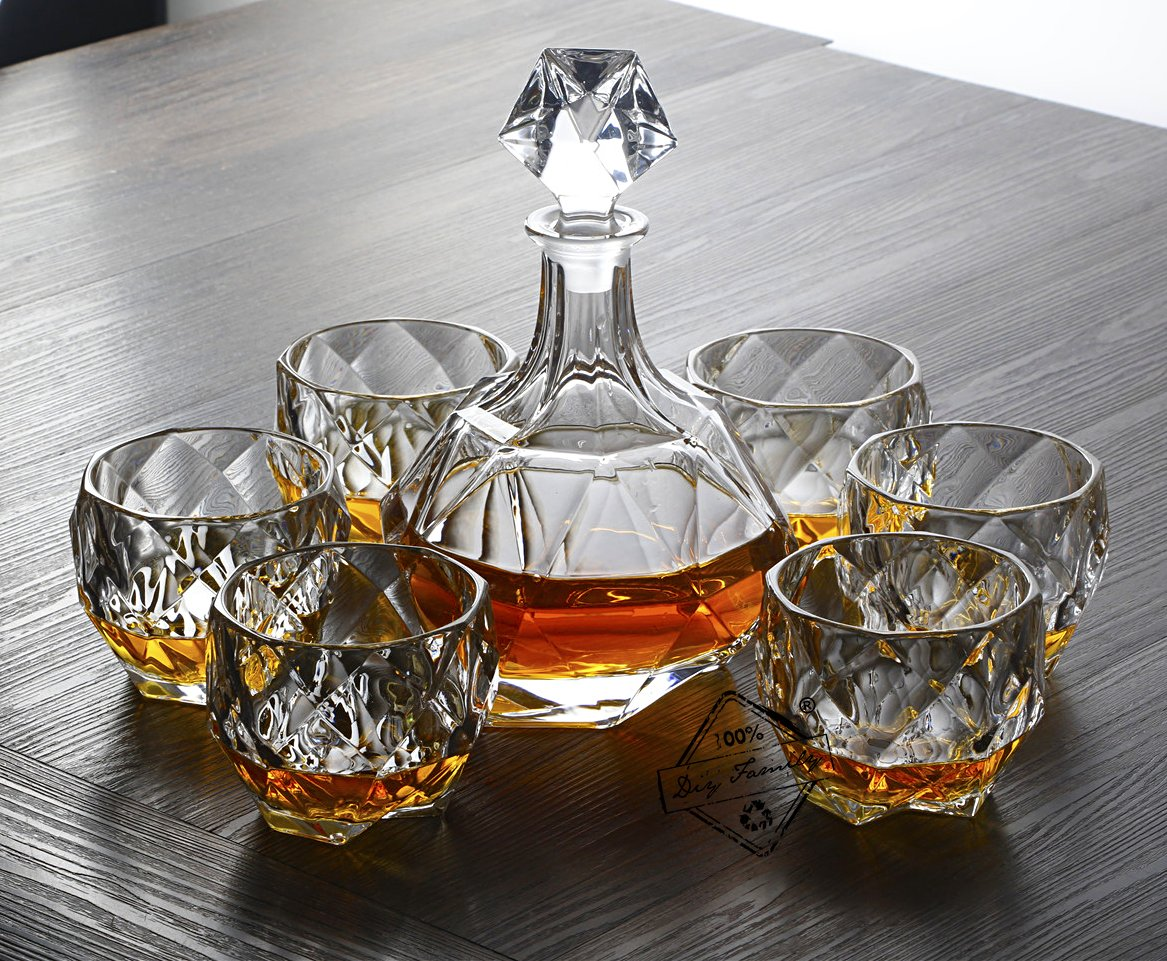 Diy Family StoreWhiskey Decanter Set of Crystal Whiskey Glasses,Set of 7, Scotch Bourbon Tequila Brandy Perfect Gift and High-end Family Reunion.100% Glass Crystal Material for Edible Grade