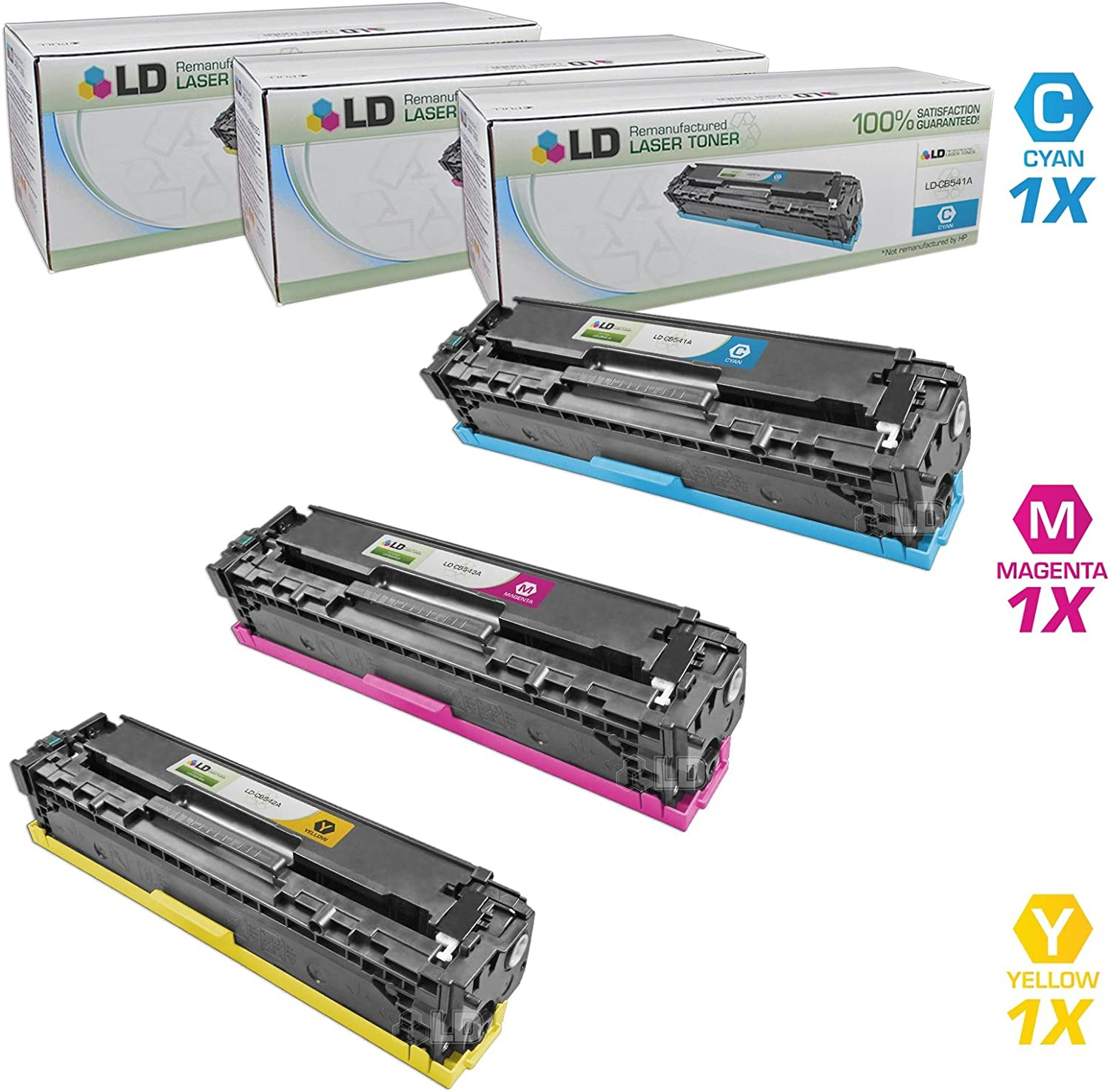 LD Remanufactured Toner Cartridge Replacement for HP 125A (Cyan, Magenta, Yellow, 3-Pack)