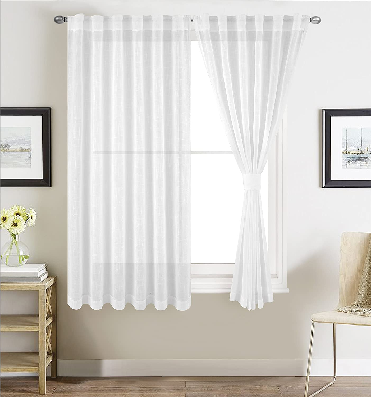 """Sheer Window Curtains for Bedroom Linen Textured White Sheer Curtain Panels for Living Room W54"""" by L46"""", Rod Pocket and Back Tab, 2 Panels by Better Home USA"""