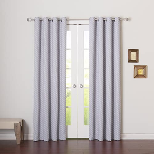 Best Home Fashion Closeout Room Darkening Diagonal Stripe Curtains Stainless Steel Nickel Grommet Top Lilac 52″ W x 96″ L Set of 2 Panels - the best window curtain panel for the money