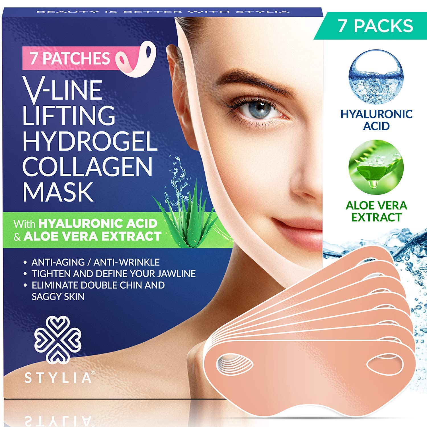 7 Piece V Line Shaping Face Masks - Lifting Hydrogel Collagen with Aloe Vera - Anti-Aging and Anti-Wrinkle Band - Double Chin Reducer Strap - Contouring, Slimming and Firming Face Lift Sheet by Stylia