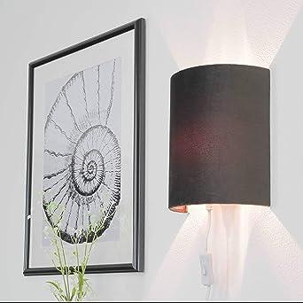 Kabelk Wohnzimmer | Graue Wandleuchte Mit Kabel Fur Steckdose Samt Schirm Wandlampe