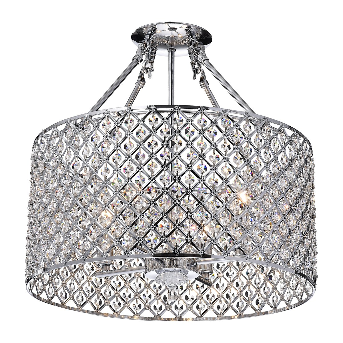 Marya 4 Light Chrome Round Shade Crystal Semi Flush Mount Chandelier Ceiling Fixture Beaded Drum Com