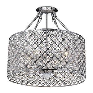 Edvivi Marya 4-Lights Chrome Round Drum Semi Flush Mount Crystal Chandelier, Beaded Drum Shade | Glam Lighting