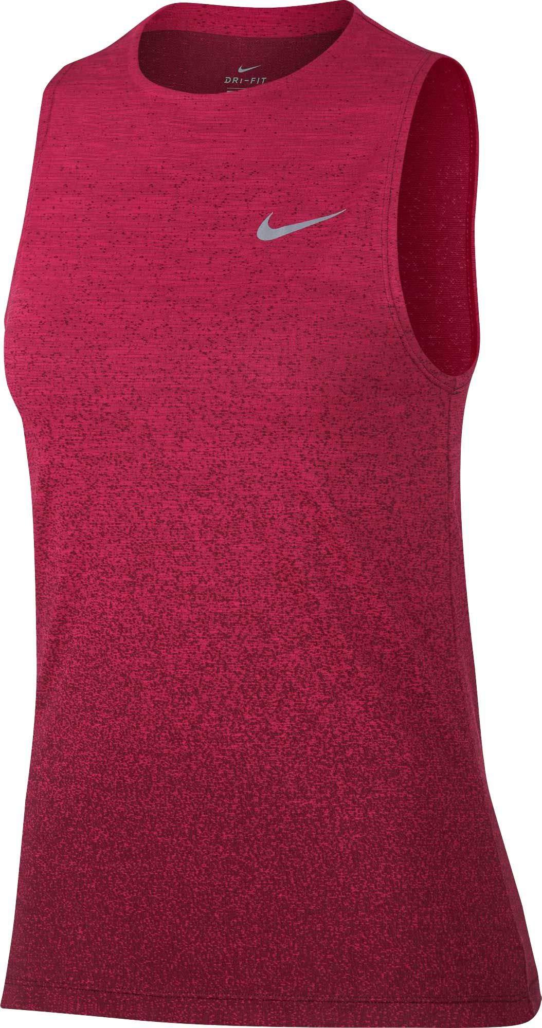 Nike Women's Medalist Running Tank Top (Rush Pink/Burgundy Crush, X-Small)