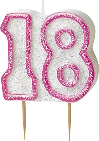 WOW GLITTER PINK 18th Birthday Candle