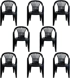 0b2fffc18270 CrazyGadget Plastic Garden Low Back Chair Stackable Patio Outdoor Party  Seat Chairs Picnic Grey Pack of