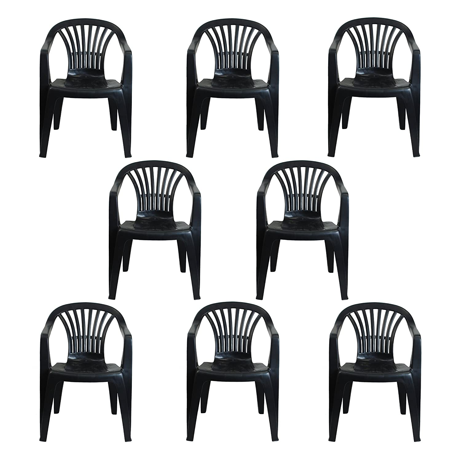 CrazyGadget Plastic Garden Low Back Chair Stackable Patio Outdoor Party Seat Chairs Picnic Grey Pack of 8 Simpa