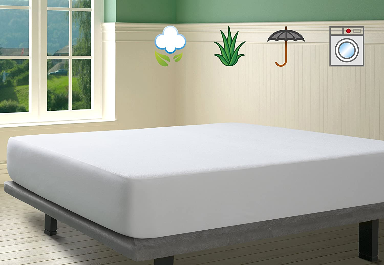 SAVEL, Protector de colchón Rizo 100% algodón con tratamiento Aloe Vera, Impermeable, 90x190cm (para camas de 90): Amazon.es: Hogar