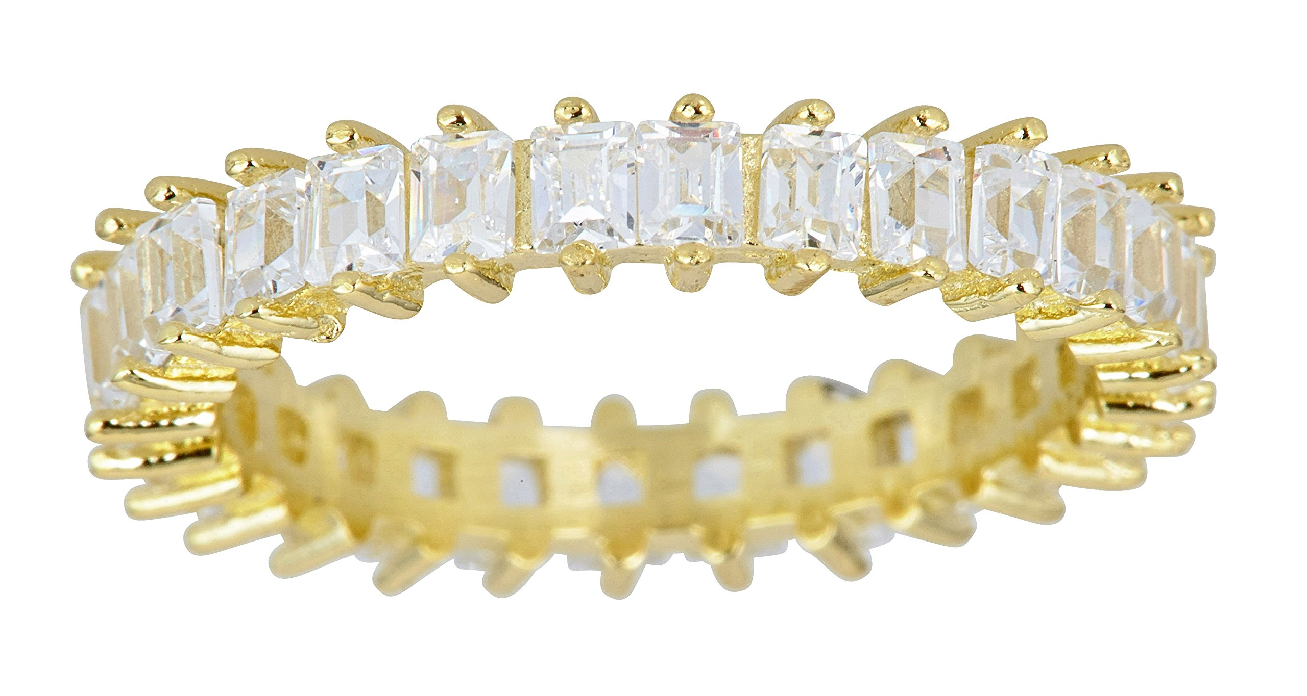 Sterling Silver Yellow 3.50mm Cubic Zirconia Baguette Eternity Band Ring