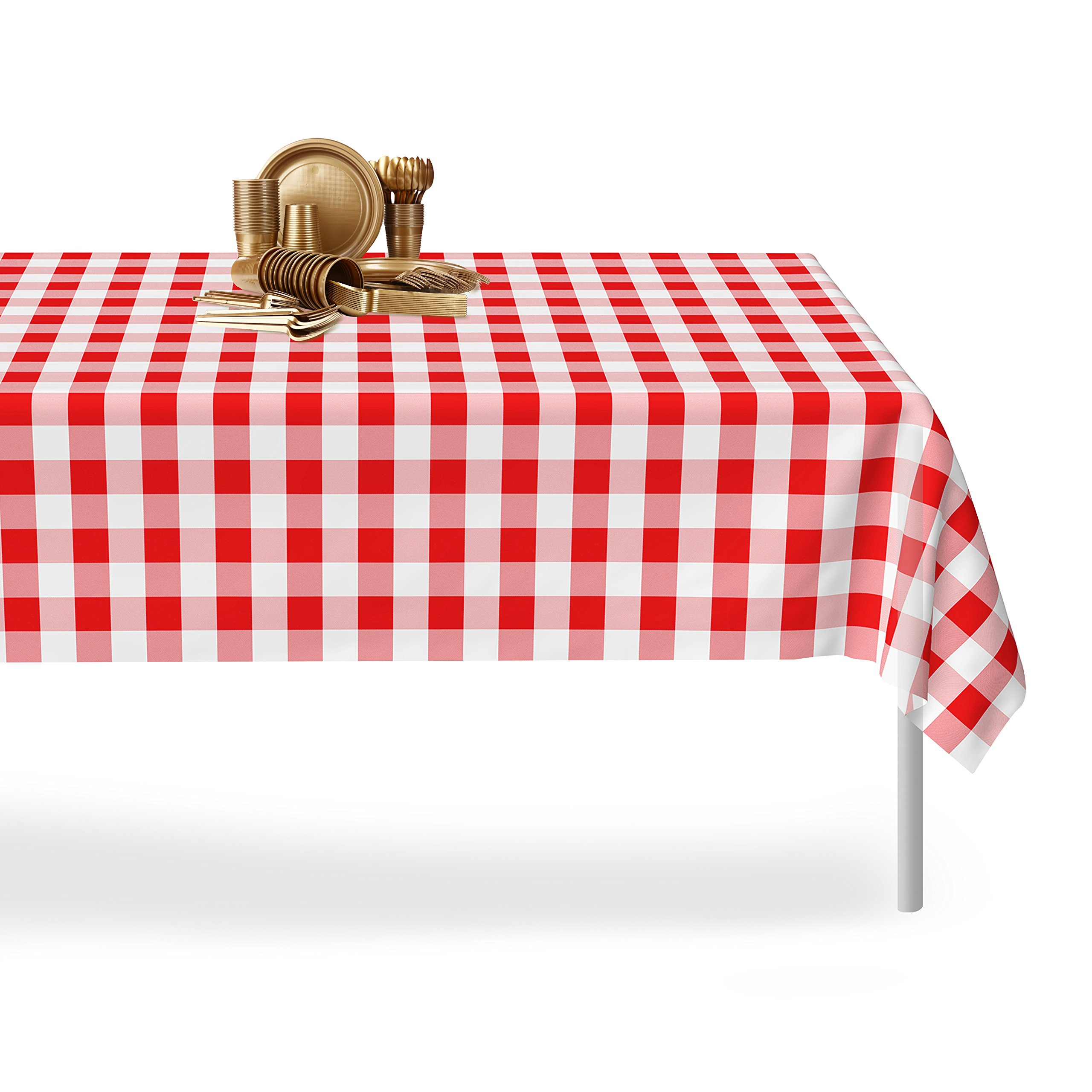 Red Gingham Checkered 12 Pack Premium Disposable Plastic Picnic Tablecloth 54 Inch. x 108 Inch. Rectangle Table Cover By Grandipity by Grandipity (Image #4)