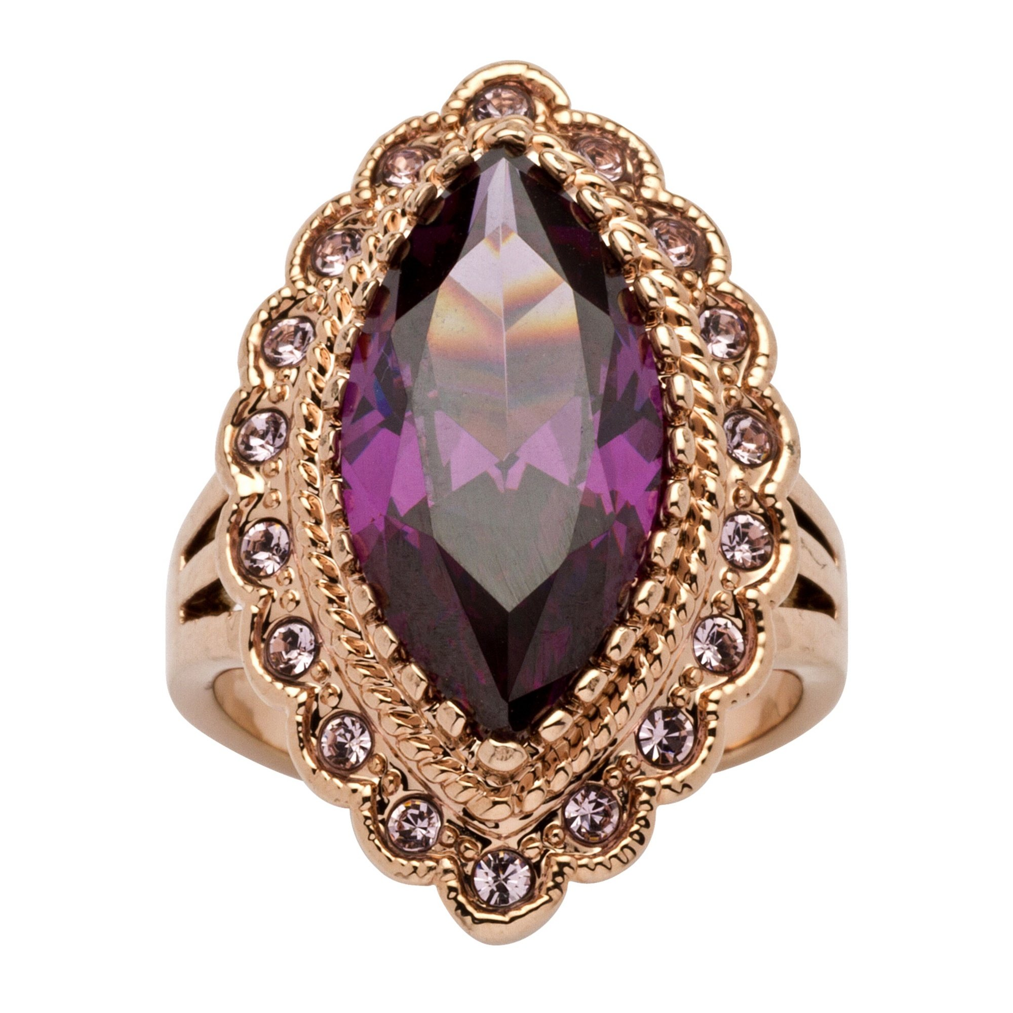 Palm Beach Jewelry Marquise-Cut Amethyst Cubic Zirconia Rose Gold Ion-Plated Cocktail Ring Size 8