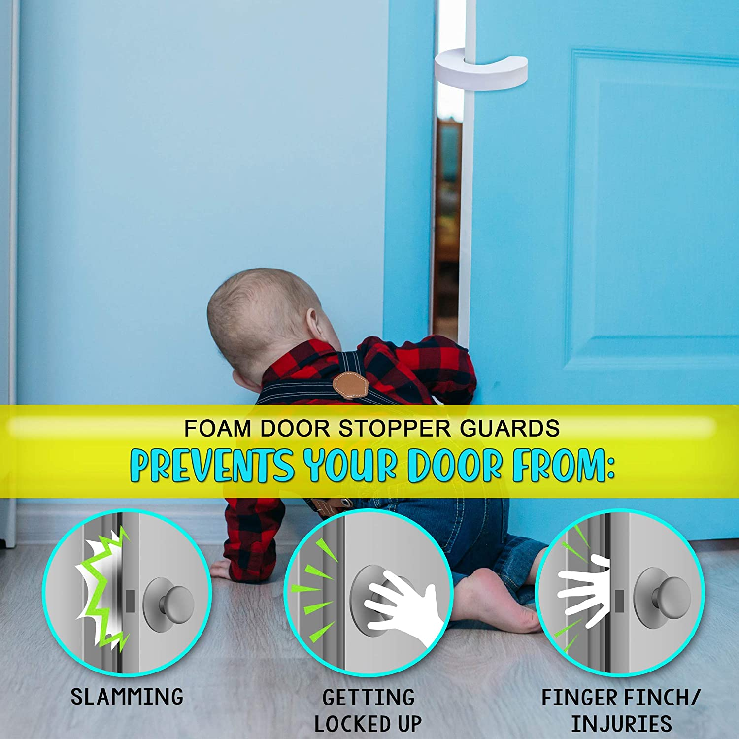 Foam Door Stopper Guards for Baby Finger Protection 12 Pack