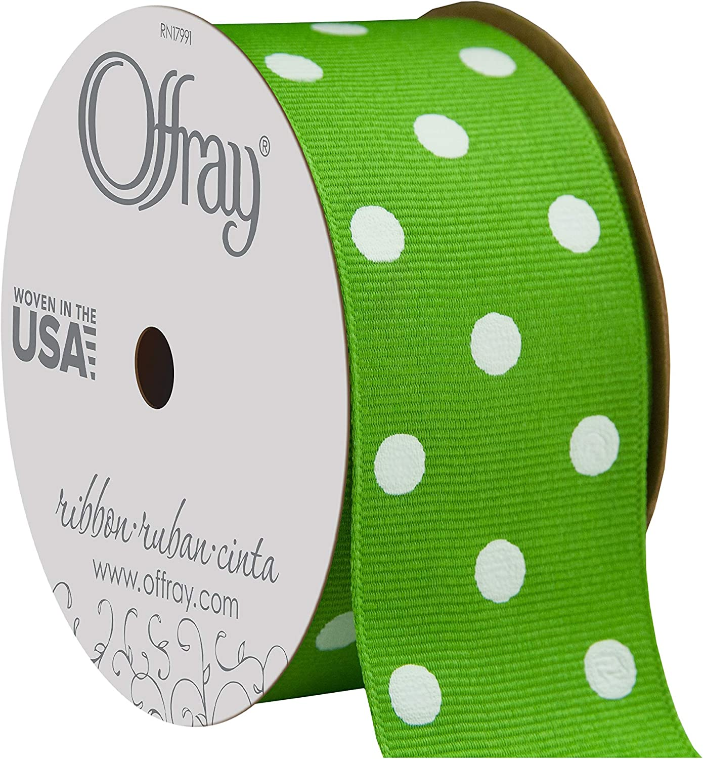"Offray 985731 1.5"" Wide Grosgrain Ribbon, Apple Green and White Polka Dot, 3 Yards"