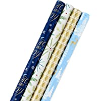 Hallmark Holiday Wrapping Paper Bundle with Cut Lines on Reverse, Elegant Woodland (Pack of 4, 120 sq. ft. ttl) Peace…