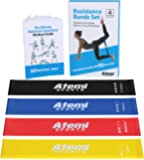 RESISTANCE BANDS | Exercise Bands Set of 4 Mini Resistance Loops plus 50-Exercise Workout Booklet | Quality Latex Mini Resistance Bands | Four Resistance Levels for Strength, Tone and Weight Loss
