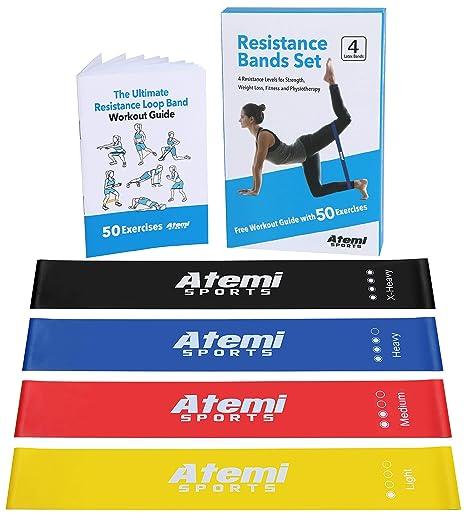 Bandas Elásticas de Resistencia | Set de 4 Bandas Ejercicio con Guía de Ejercicios | Cintas Elásticas para Yoga, Crossfit, Entrenamiento de Fuerza, ...