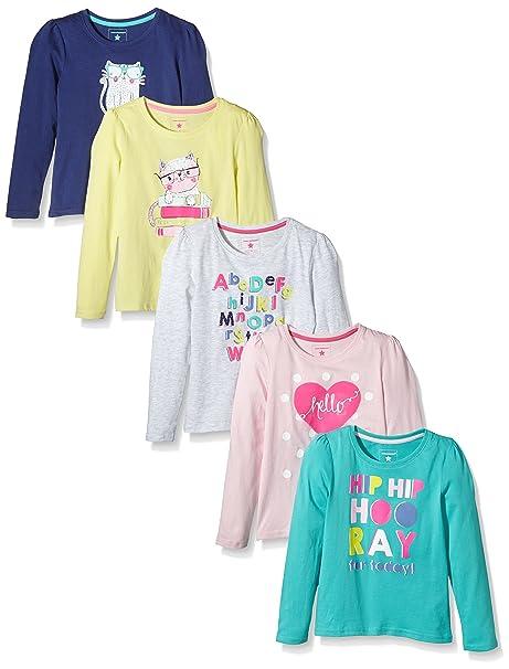 Primark - Camiseta de Manga Larga para niñas, Azul, Rosa, Turquesa, Gris