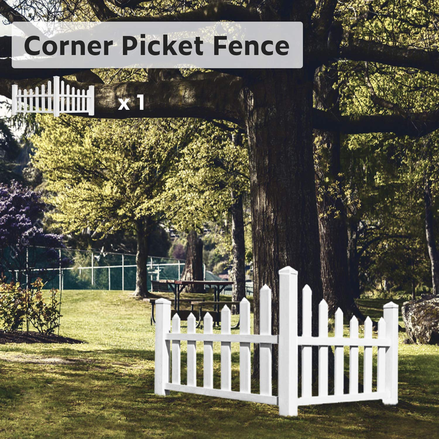 "Ecoopts 38"" X 95"" Vinyl Corner Picket Enclosure Fence Panel Screen Level Top England Country Essentials Scalloped Accent Fencing for Yard, Gardens, Outdoor Products, White 1 Pic"
