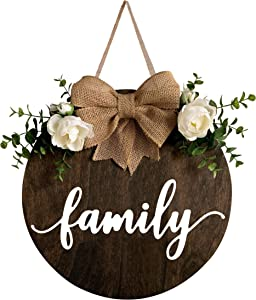 MayAvenue Family Wreaths Decor Sign Front Door, Round Wood Hanging Sign with Ribbon Bow and Artificial Green Leaves, Farmhouse Porch Decorations for Home Thanksgiving, Brown
