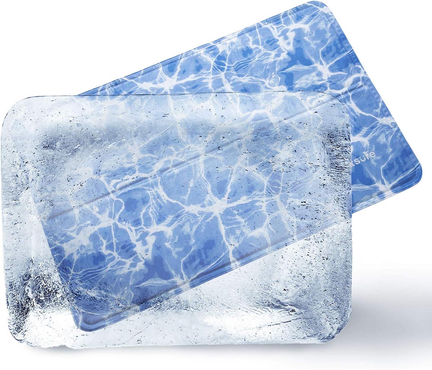 Bedsure Manta Refrescante Perros Grandes - Cama Fría para Perro Gato, Alfombra de Enfriamiento de Verano, 90x60cm, Azul