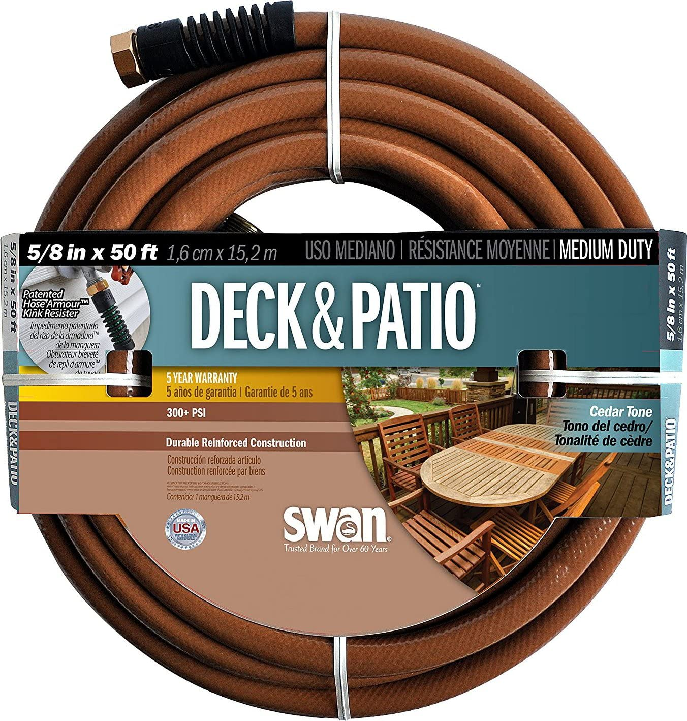 "Swan Products SN2004050 Deck and Patio Medium Duty Garden Hose 50' x 5/8"", Brown"
