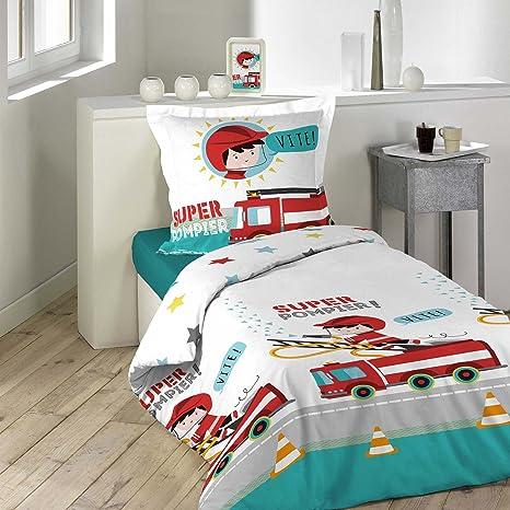 Comptoir des Tisseurs Parure de lit Enfant Pompier Housse de Couette 140x200 cm 1 taie doreiller 65x65cm 100/% Coton