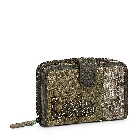 61f682c2a Lois - Cartera Billetero Tarjetero Monedero de Mujer con Cremallera y  Cierre presión. 8 Compartimentos