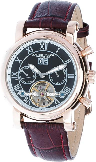 James Tyler Jt700 4 Reloj Para Hombres Correa De Cuero Color Marrón Cuadrante Negro Amazon Es Relojes