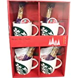Starbucks Share the Cheer 4 14 Ounce Mugs Holiday Cheer Set with Biscotti K-Cups and Swiss Miss Hot Cocoa