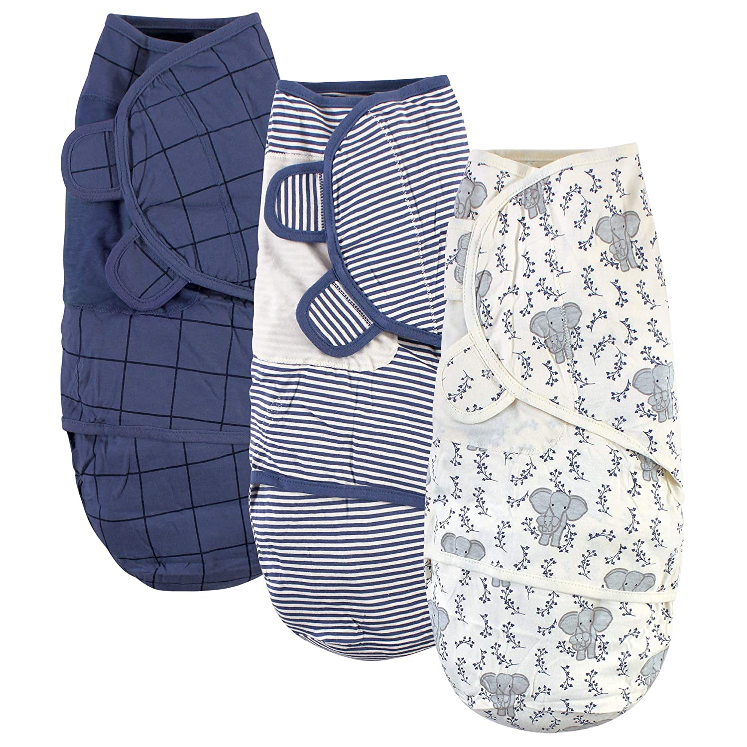 Touched by Nature Unisex Baby Organic Cotton Swaddle Wraps, Elephant, 0-3 Months