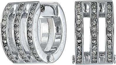 11620f73fe760d Amazon.com: Michael Kors Women's Pave Huggie Earring Silver Hoop ...