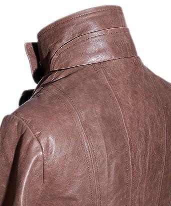 rétro cuir pour vintage militaire femmes marron Tara veste vachette AXqY1