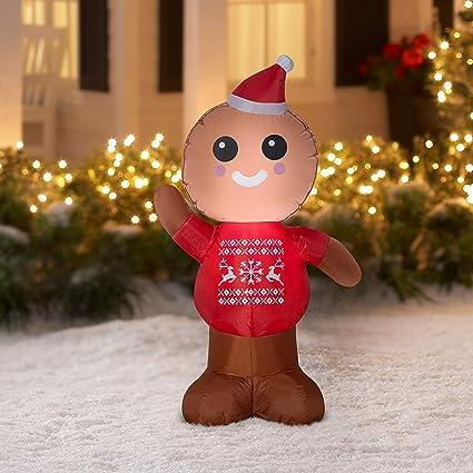 Amazon Com Gemmy Industries Airblown Inflatable Gingerbread Man 4 Feet Tall Garden Outdoor