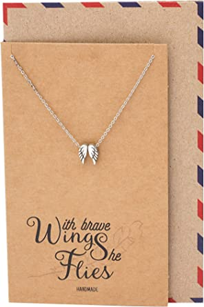 Angel Charm Sterling Silver Wing Necklace 925 Silver Message Quote Necklace Message Card Jewellery UK Silver Jewellery