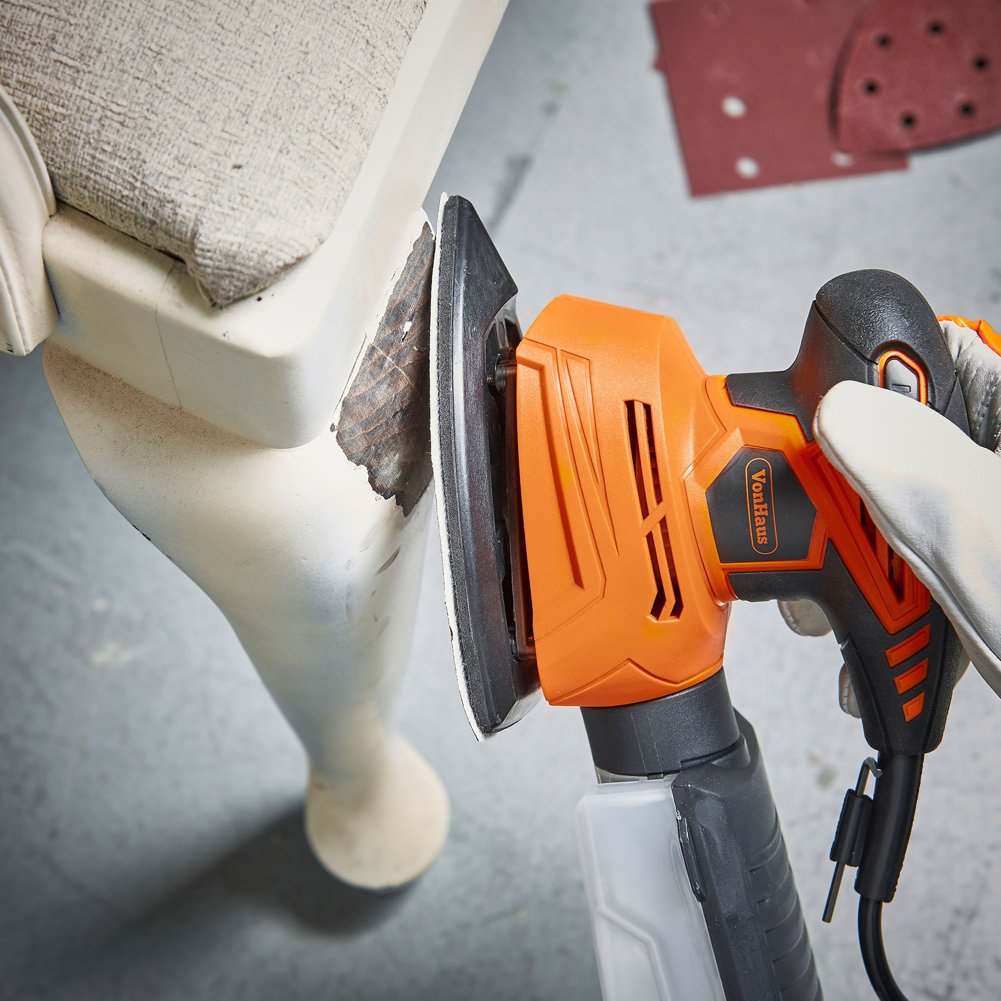 VonHaus 1.1A 2 in 1 Sheet & Detail Sander - 14000 RPM with 6 Sanding Sheets Included - Multi-Use, Compact Lightweight Design with Dust Extraction System and 6ft Power Cord by VonHaus (Image #2)