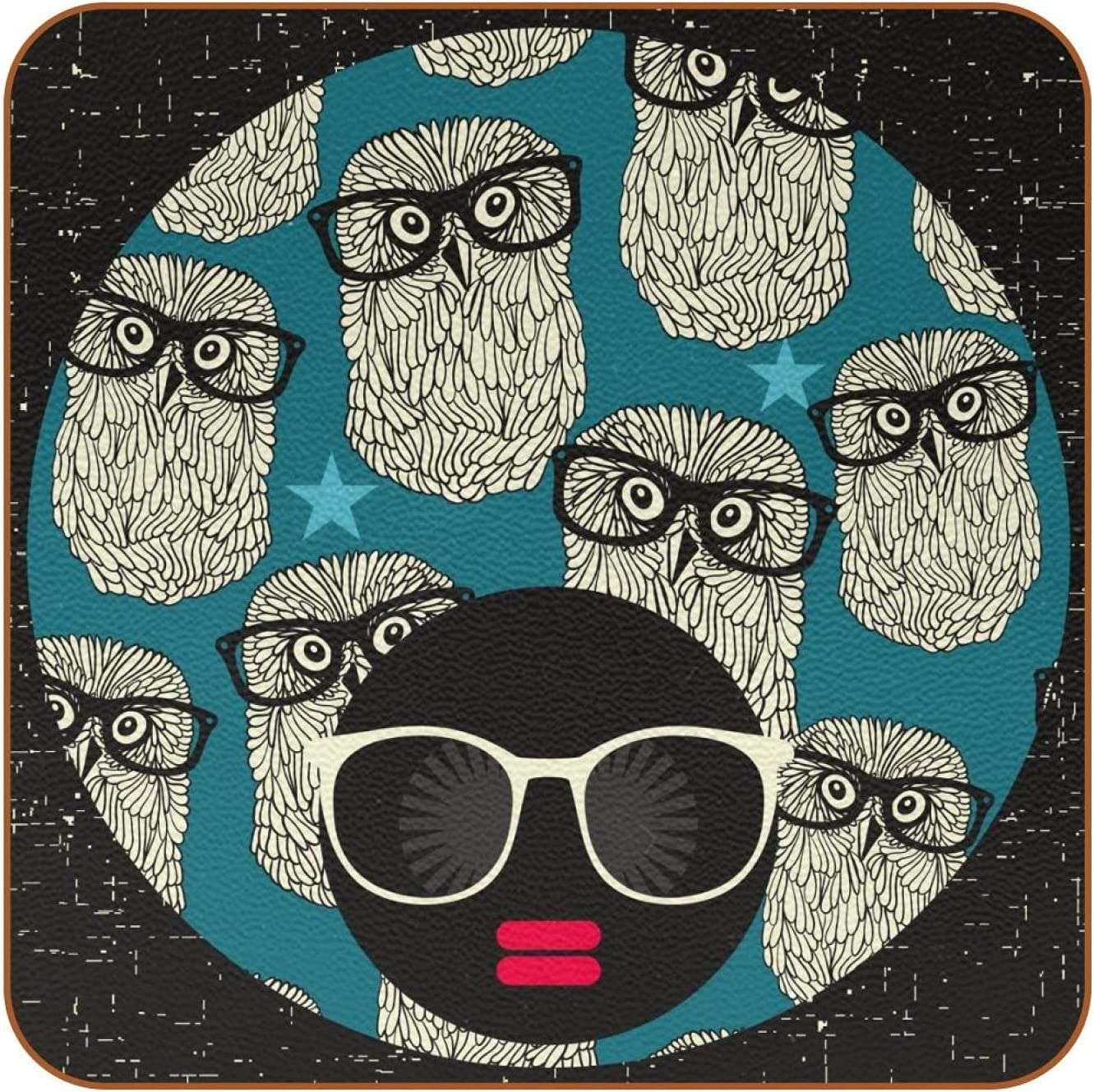 Coasters for Drinks Cute Owl Glasses Pattern Leather Square Mug Cup Pad Mat for Protect Furniture, Heat Resistant, Kitchen Bar Decor, Set of 6