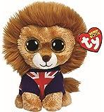 TY Beanie Boo - León de peluche con camiseta de bandera de Reino Unido (15cm)