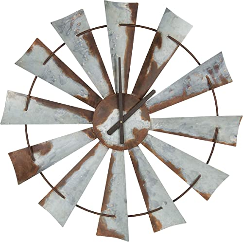 Kate and Laurel Millbrook Windmill 32″ Diameter Distressed Metal Wall Clock