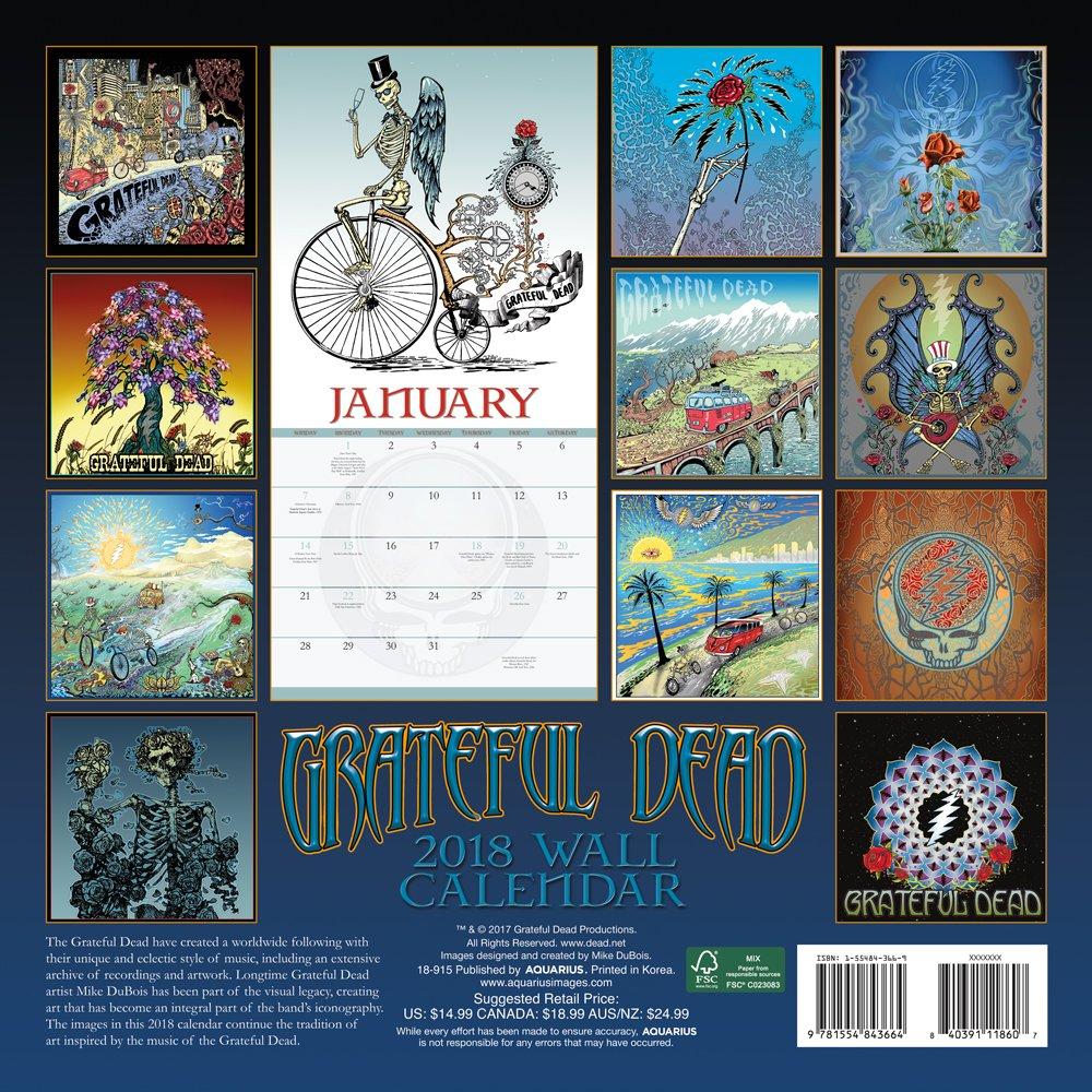 Grateful Dead February 2020 Calendar Grateful Dead 2018 Calendar: Mike Dubois: 9781554843664: Amazon