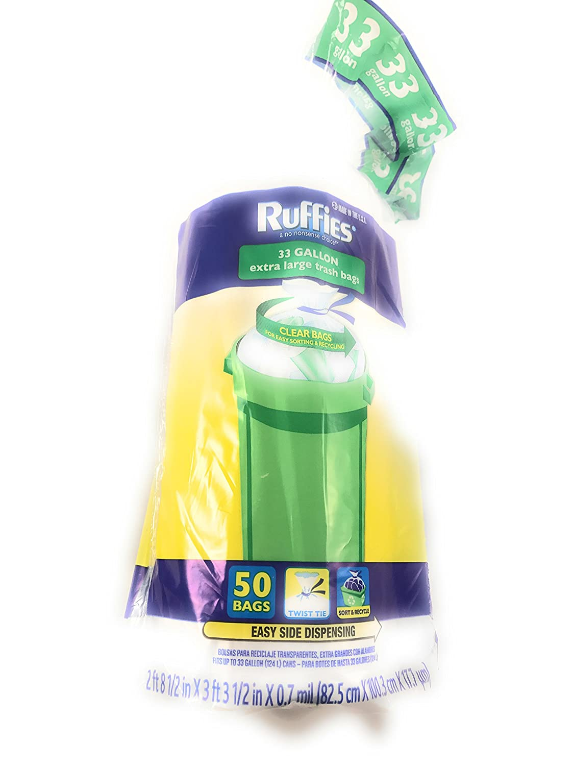 Amazon.com: ruffies Twist Tie Claro extragrande 33 Galón ...