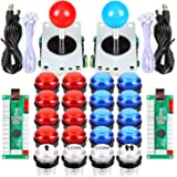 Fosiya 2 Player LED Arcade Joystick Buttons Kit for Arcade PC Game Controllers Mame Raspberry Pi Retro Controller (Red & Blue Kit)
