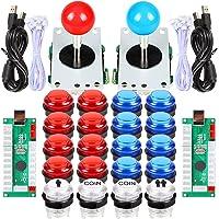 EG STARTS 2 Player Arcade DIY Kits Parts 2 Stickers + 20 LED Illuminated Push Buttons for Arcade Joystick PC Games Mame…