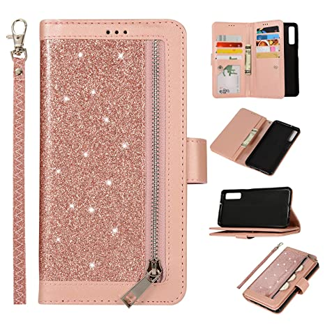 7927c3e2ba0e Amazon.com: Yobby Zipper Wallet Case for Samsung Galaxy A7 2018/A750 ...