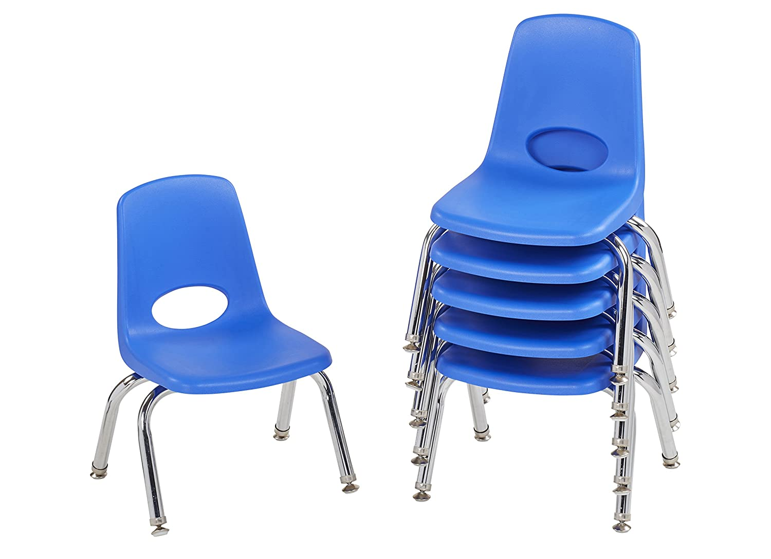 ECR4Kids 10 School Stack Chair, Chrome Legs with Nylon Swivel Glides, Blue (6-Pack) ELR-0192-BLG